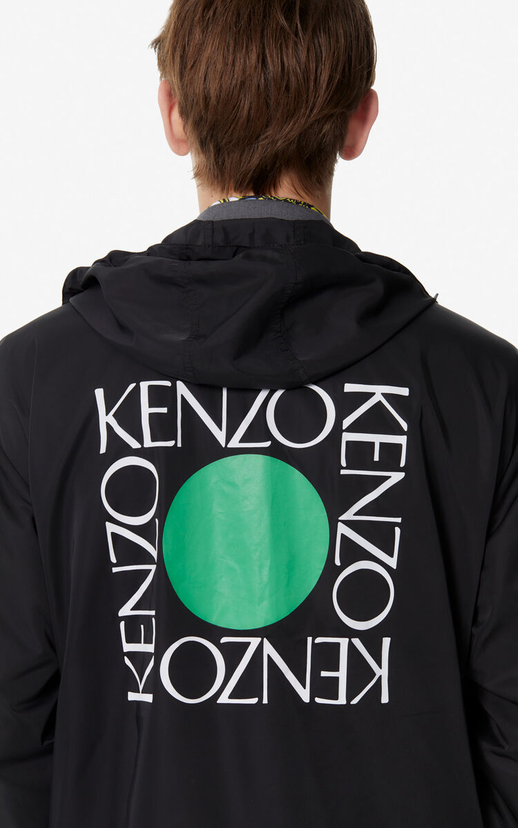 BLACK 'Square Logo' rain jacket for women KENZO