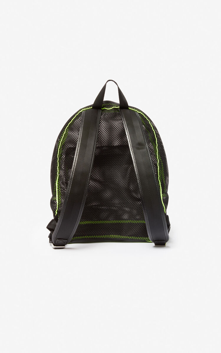 BLACK Large KENZO Logo mesh backpack for women