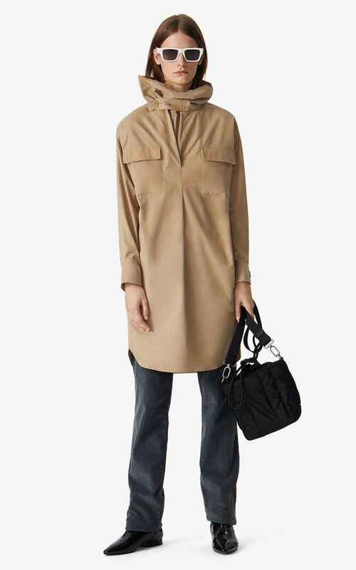 DARK BEIGE Cowl neck dress for women KENZO