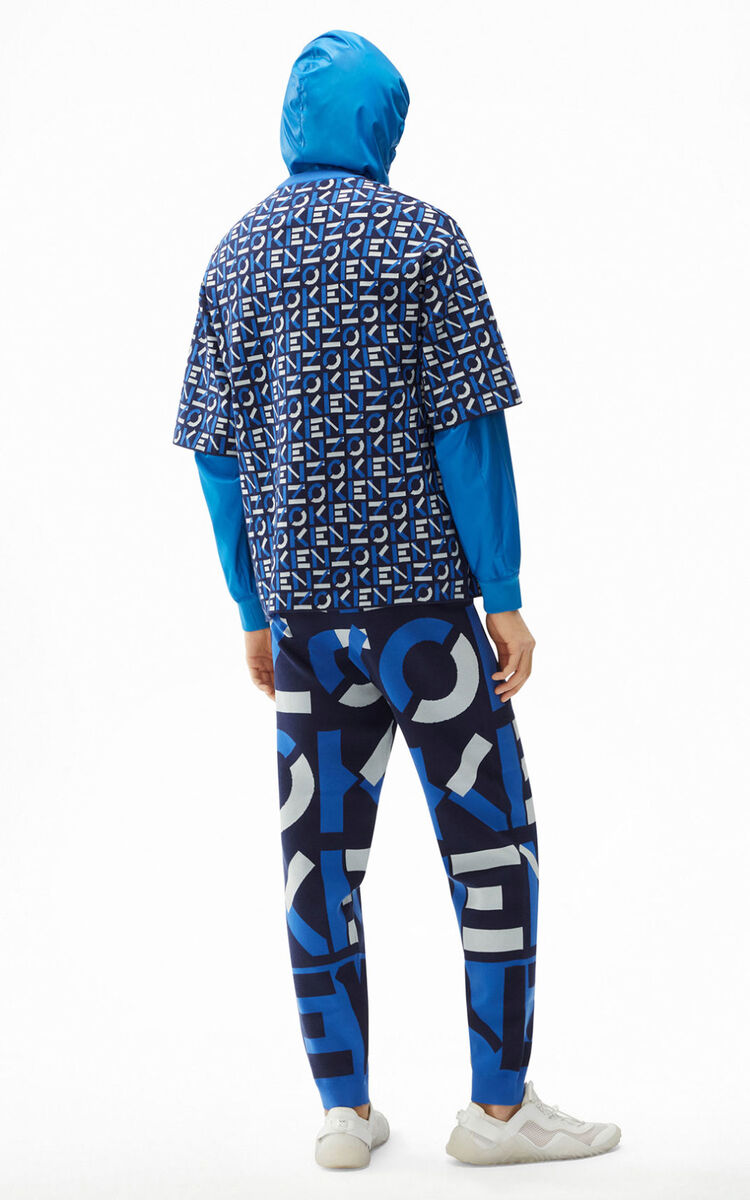 MIDNIGHT BLUE KENZO Sport monogram jacquard jumper for men