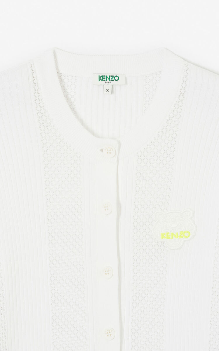 WHITE Openwork Tiger cardigan 'High Summer Capsule collection' for women KENZO