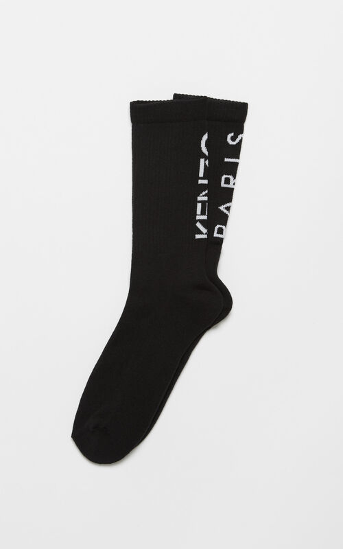 BLACK KENZO Logo socks for unisex