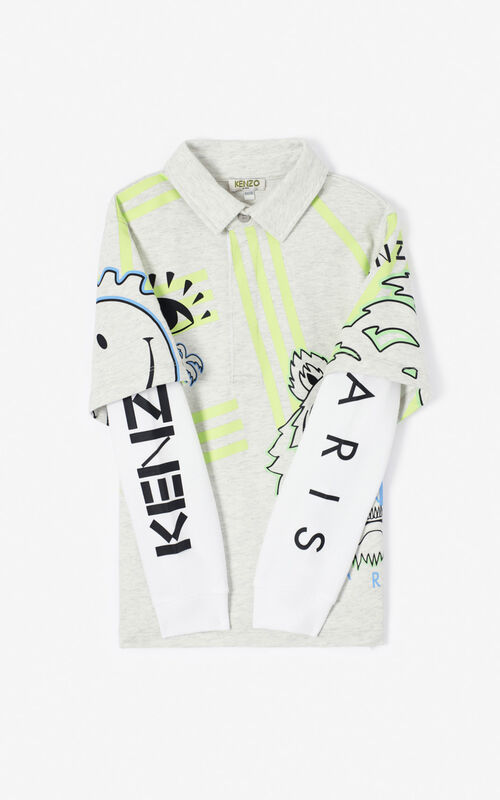 PALE GREY 'Cali Party' Multi-Icon Polo Sweatshirt. for women KENZO