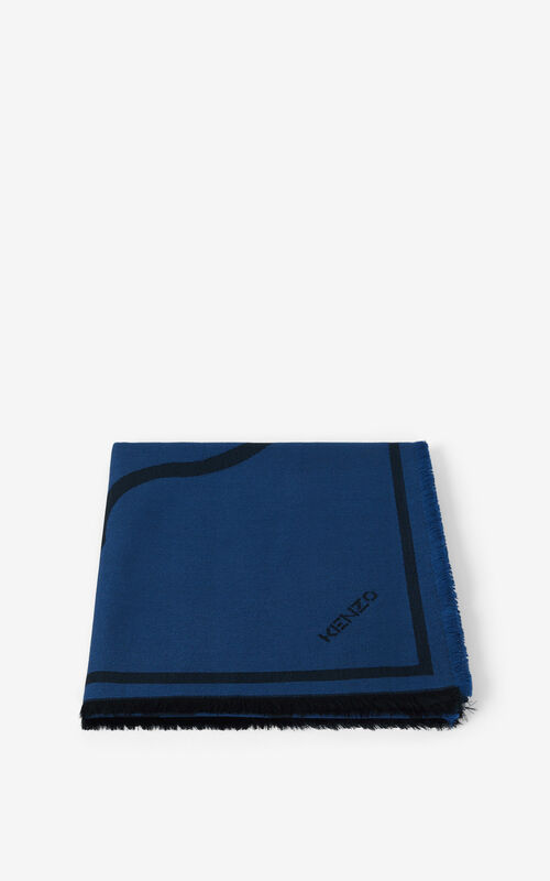 ROYAL BLUE K-Tiger wool square for unisex KENZO