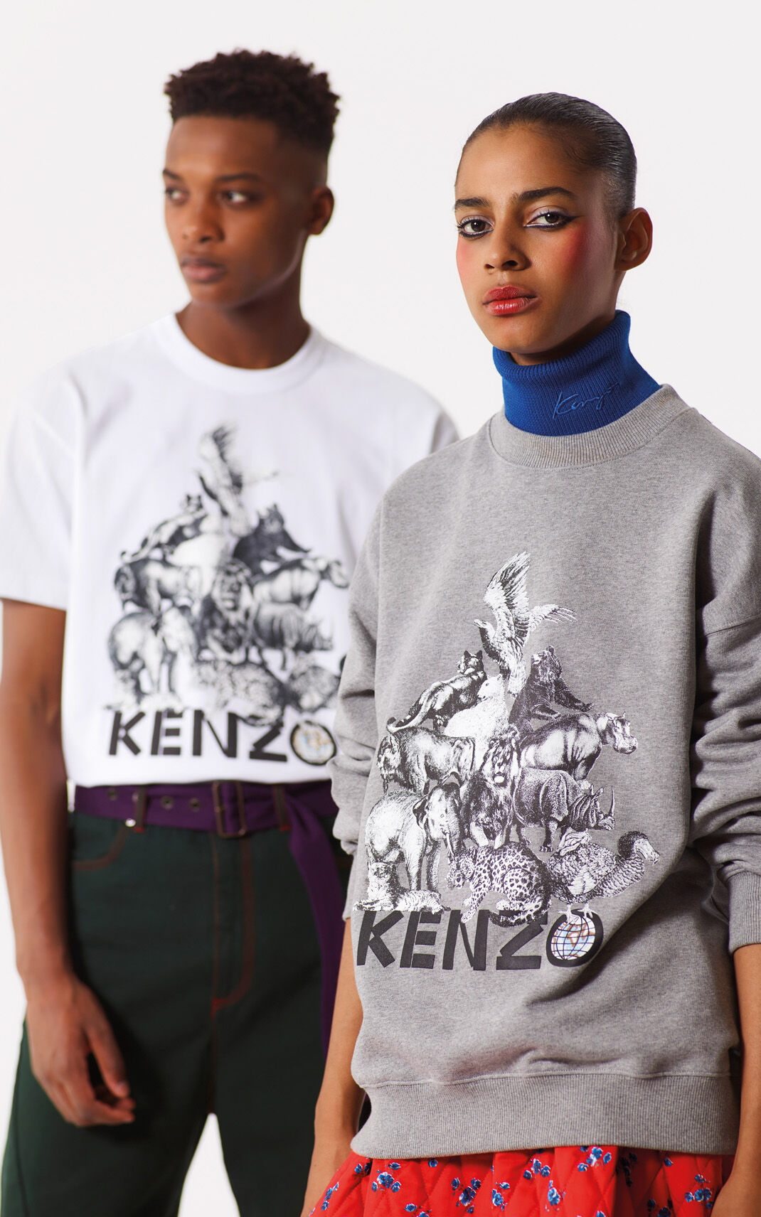 DOVE GREY 'Animals' Vintage Sweatshirt for women KENZO