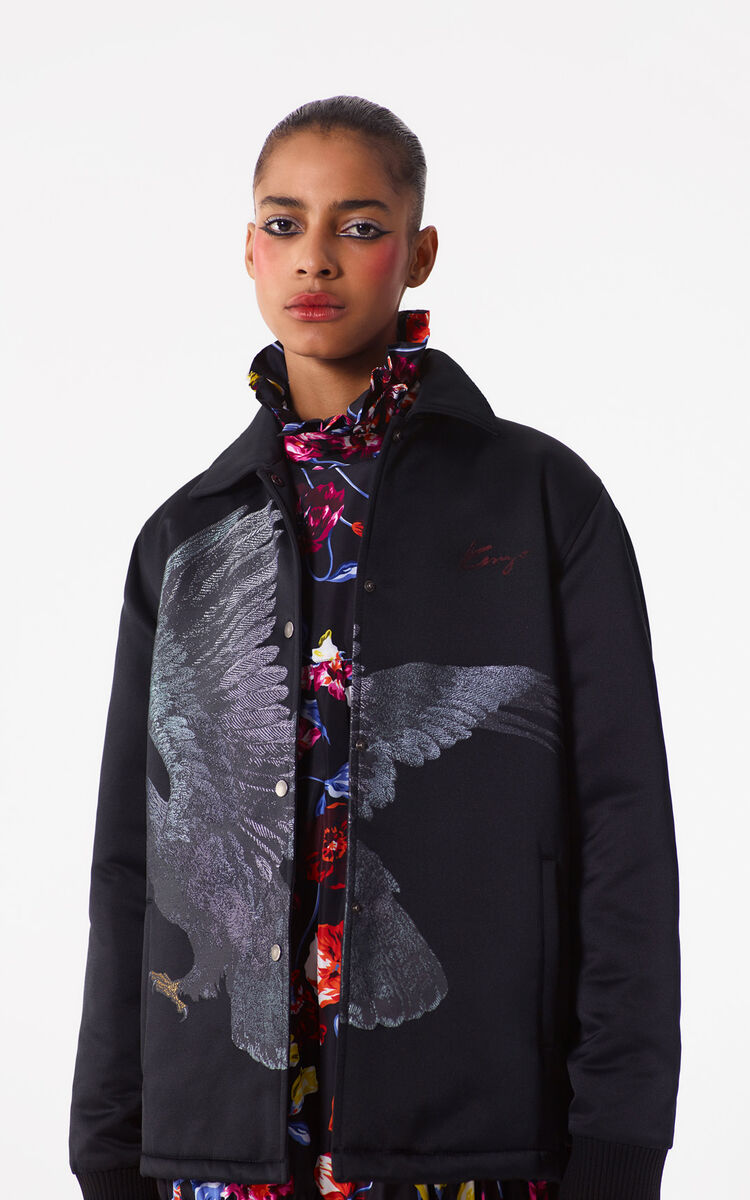 BLACK 'Eagle'  coat for women KENZO