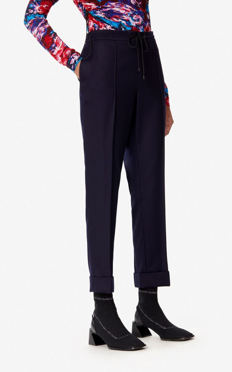 MIDNIGHT BLUE Tapered flannel trousers for women KENZO