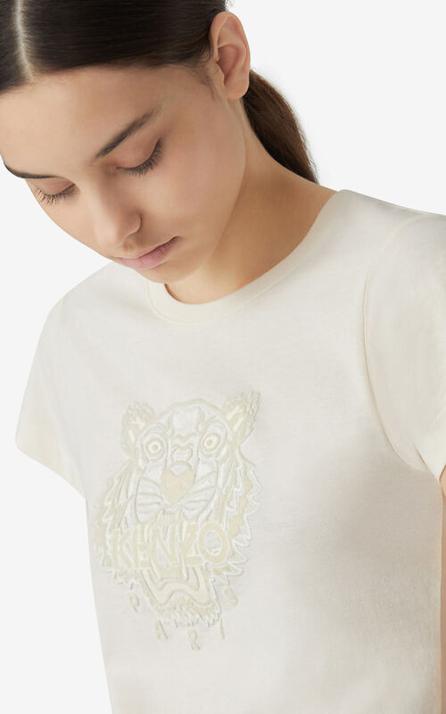 ECRU Tiger Flock slim-fit T-shirt for women KENZO