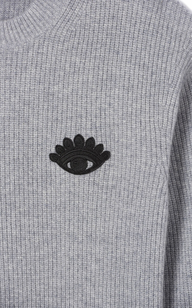 DOVE GREY Cashmere Eye jumper for men KENZO