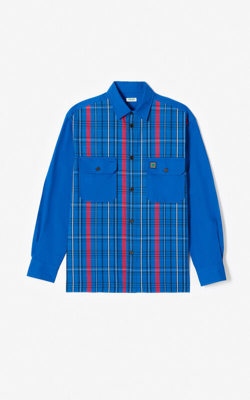 FRENCH BLUE Striped overshirt for men KENZO