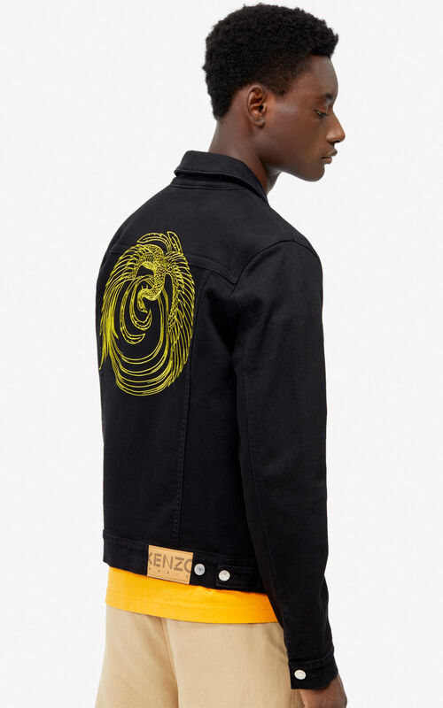 BLACK 'Phoenix' denim jacket for men KENZO