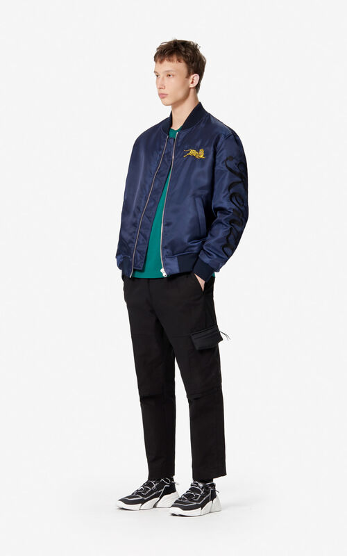 NAVY BLUE 'Jumping Tiger' letter jacket for men KENZO