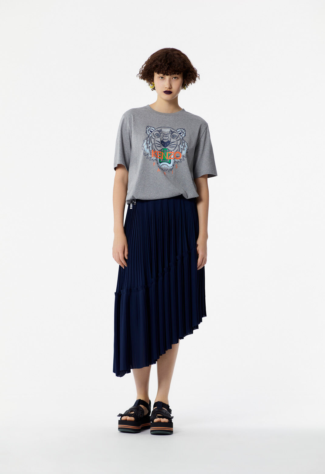 DOVE GREY Tiger t-shirt with knots for women KENZO
