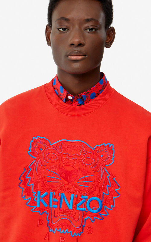MEDIUM RED Two-tone Tiger sweatshirt for men KENZO