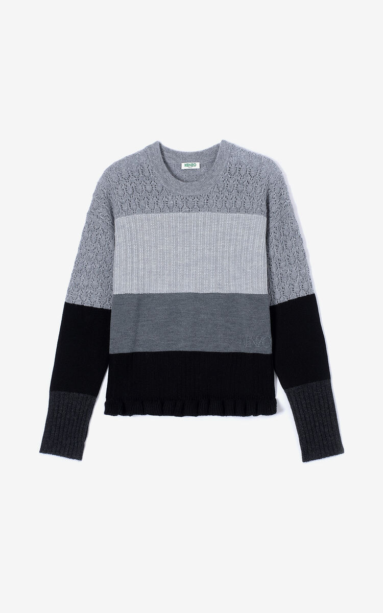 PALE GREY Wool and cashmere striped jumper for women KENZO