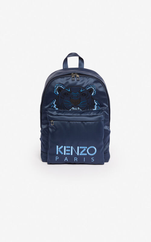 a0186feb691086 MIDNIGHT BLUE Large satin Tiger backpack 'Holiday Capsule' for unisex KENZO  ...