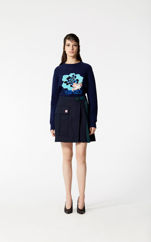 NAVY BLUE Wrap skirt for women KENZO