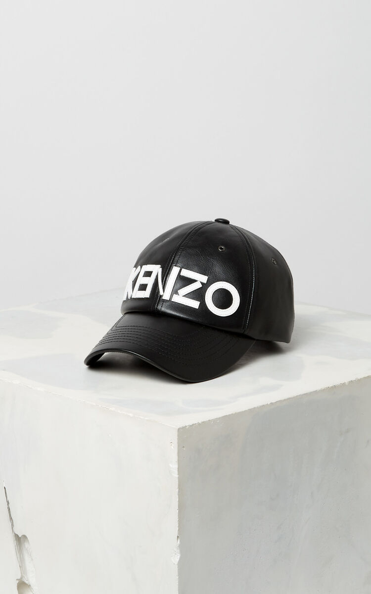 BLACK Leather cap KENZO Paris for unisex