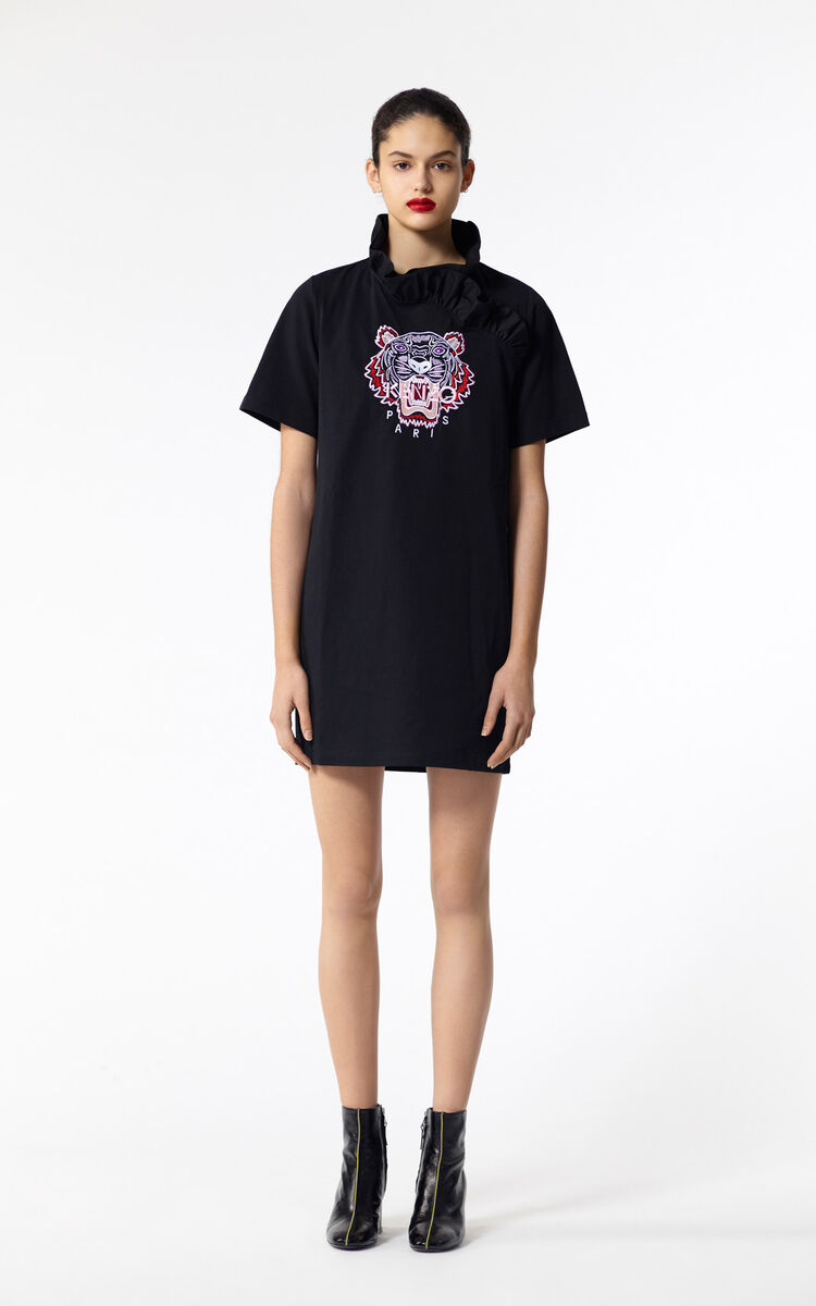 BLACK Tiger ruffled collar dress for men KENZO