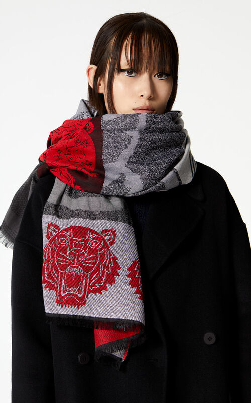 MEDIUM RED Multi icon scarf for women KENZO