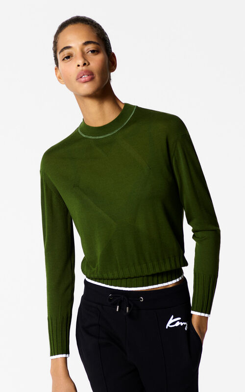 DARK KHAKI Plain jumper with knitted patterns for women KENZO