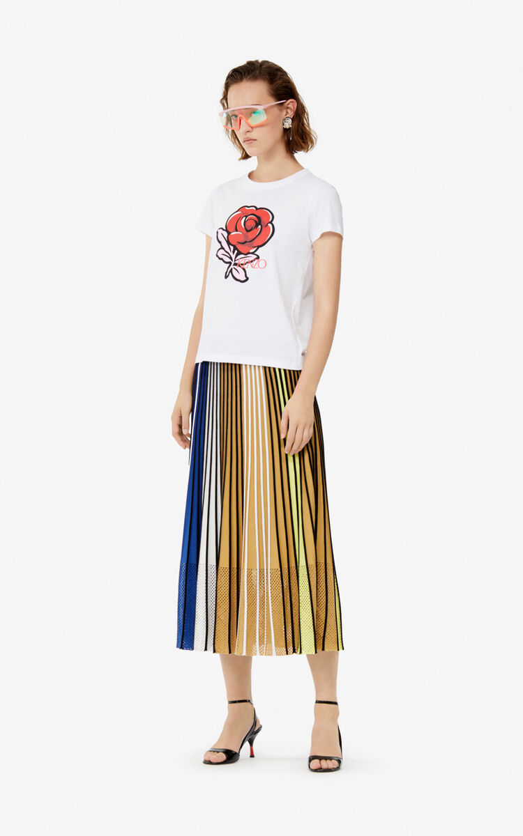 MULTICOLOR Pleated colorblock knit skirt for women KENZO