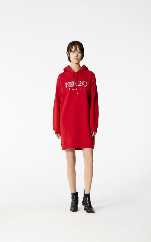 MEDIUM RED KENZO Paris sweatshirt dress for women
