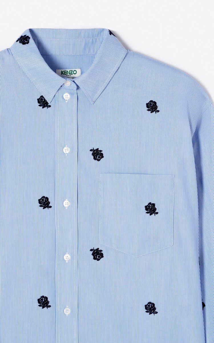 SKY BLUE 'Striped 'Roses' shirt for women KENZO