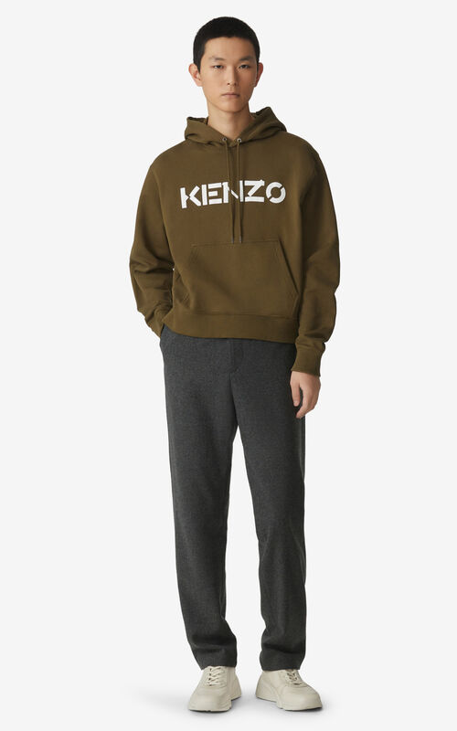 KHAKI KENZO Logo hooded sweatshirt for men