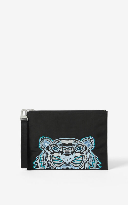 BLACK Large canvas Kampus Tiger pouch for unisex KENZO