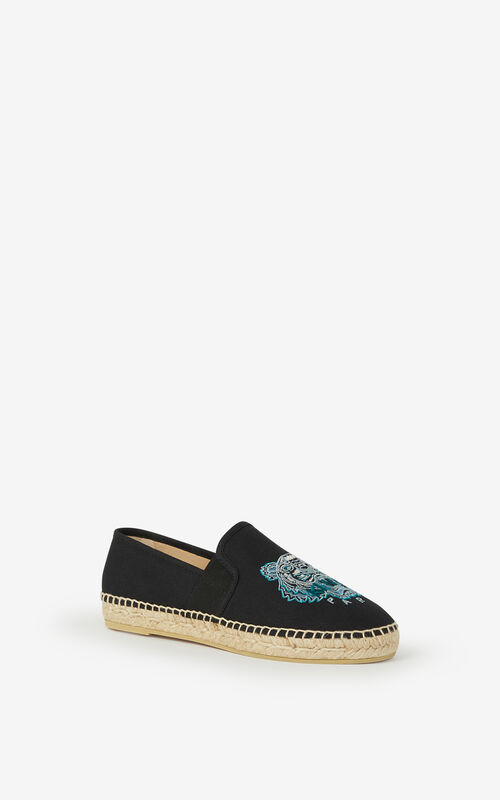 BLACK Elasticated canvas Tiger espadrilles for unisex KENZO