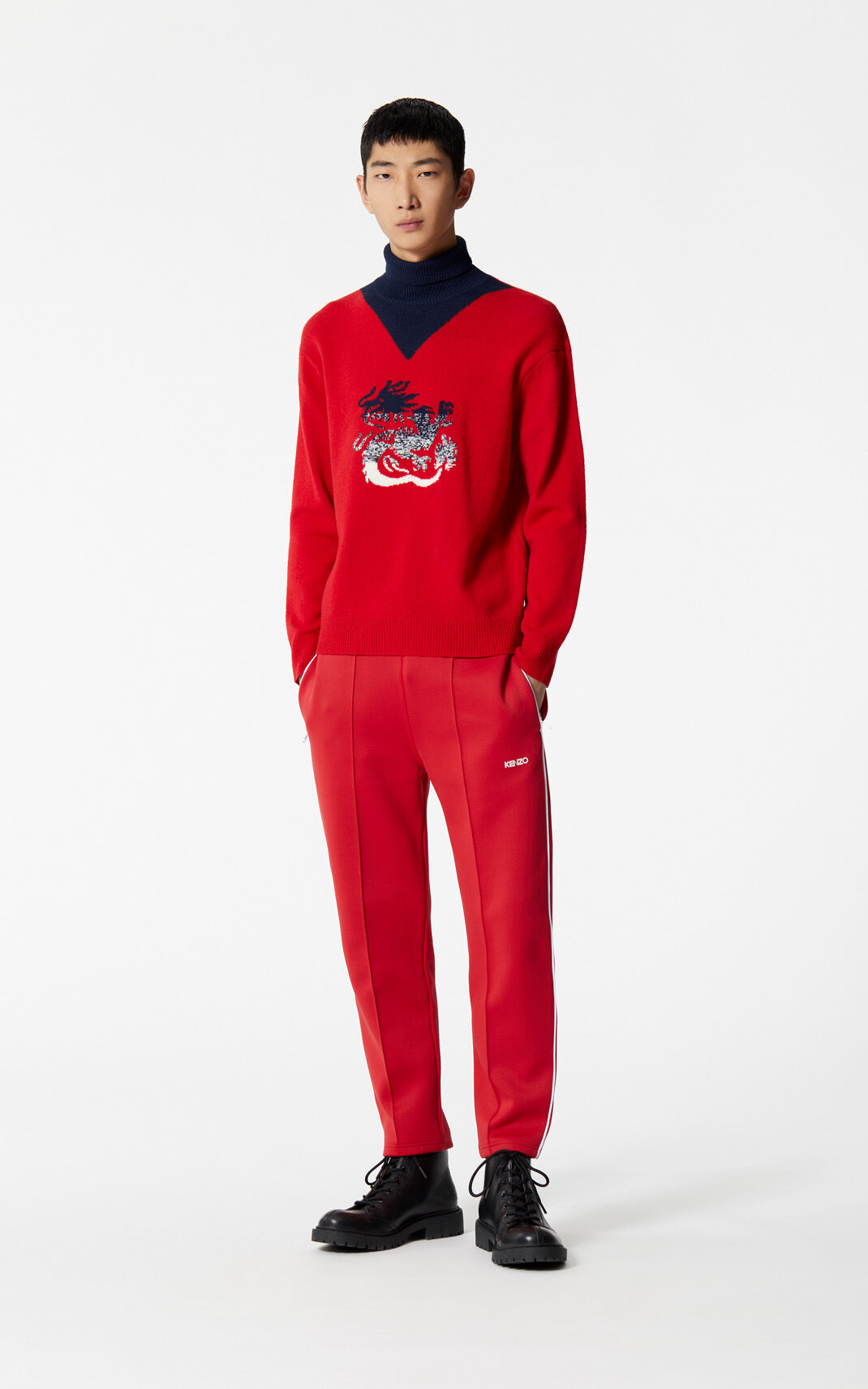 MEDIUM RED Dragon turtleneck jumper for women KENZO
