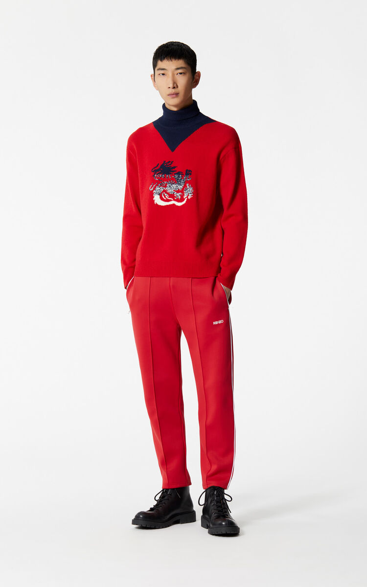 MEDIUM RED Dragon turtleneck jumper for men KENZO