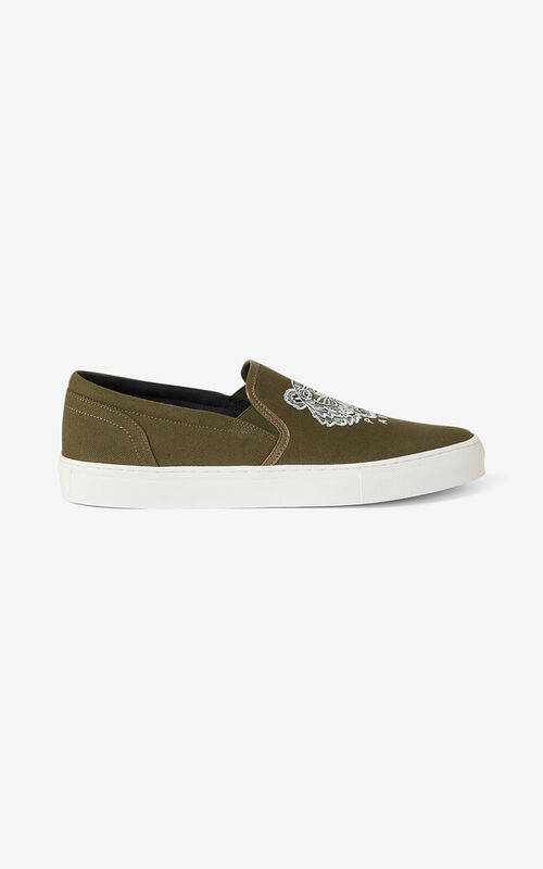 DARK KHAKI K-SKATE Tiger canvas slip-on sneakers for unisex KENZO