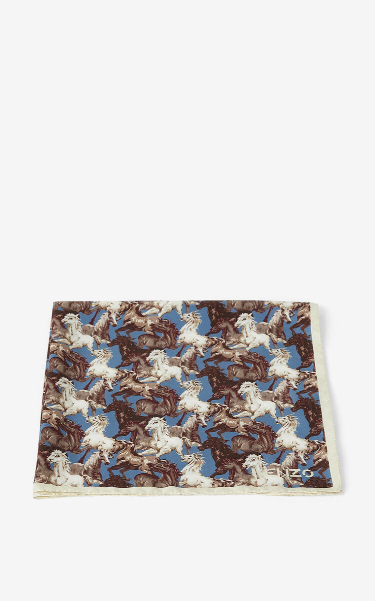 BLUE 'Chevaux KENZO' silk bandana for unisex