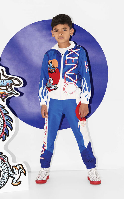 ROYAL BLUE 'Dragon Celebration' zipped jacket for women KENZO