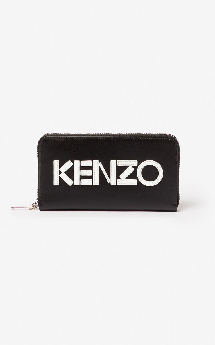 BLACK KENZO logo leather wallet for unisex