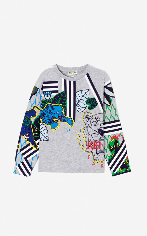 MIDDLE GREY 'Fantastic Jungle' multi-icons t-shirt for women KENZO
