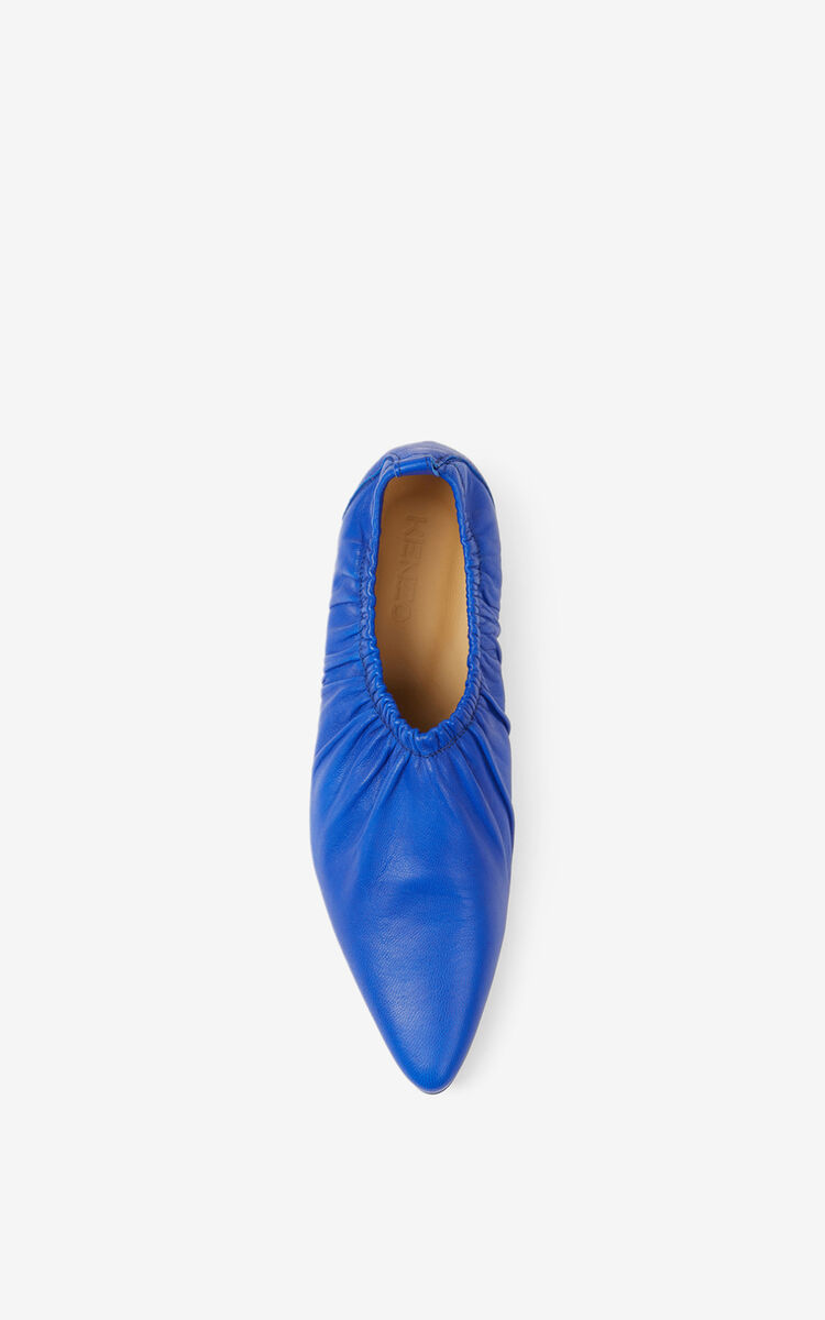 ROYAL BLUE WRINKLE flat leather ballet pumps for unisex KENZO
