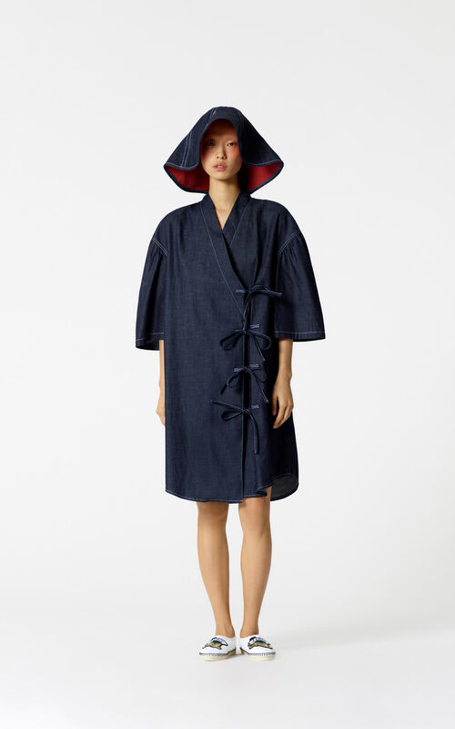 NAVY BLUE Denim kimono dress for women KENZO