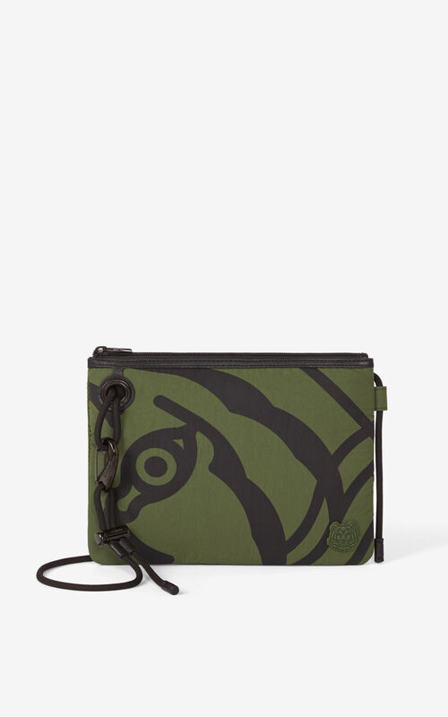 DARK KHAKI K-Tiger crossbody bag for women KENZO