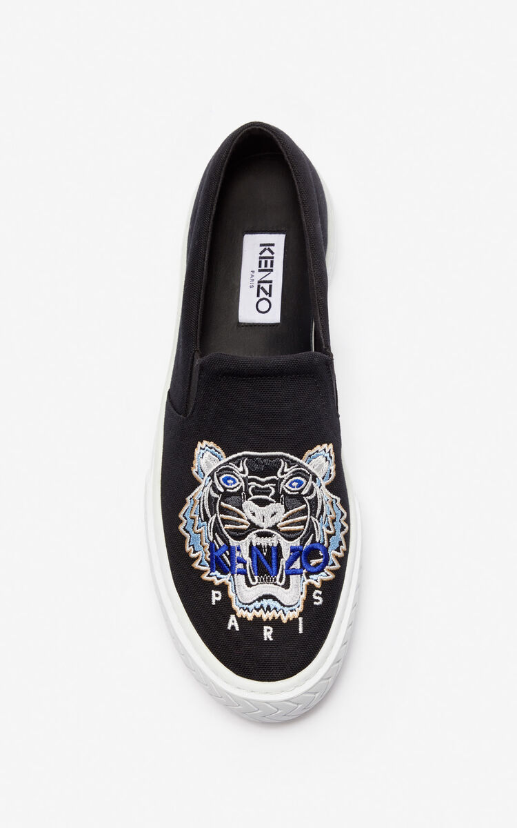 BLACK Slip-on K-Skate Tiger shoes for unisex KENZO