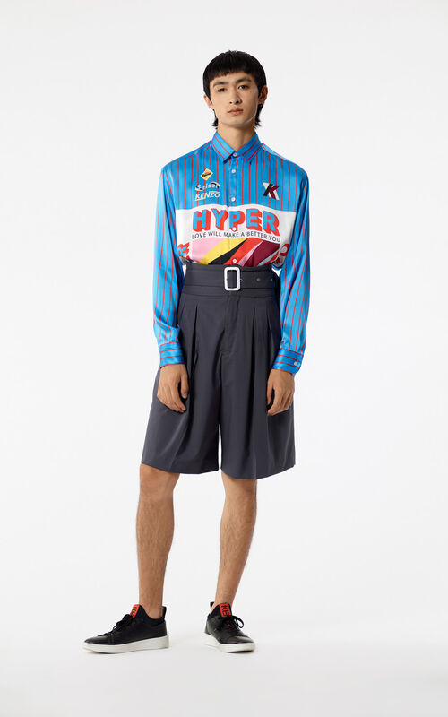 TURQUOISE 'Hyper KENZO' silk Shirt for men