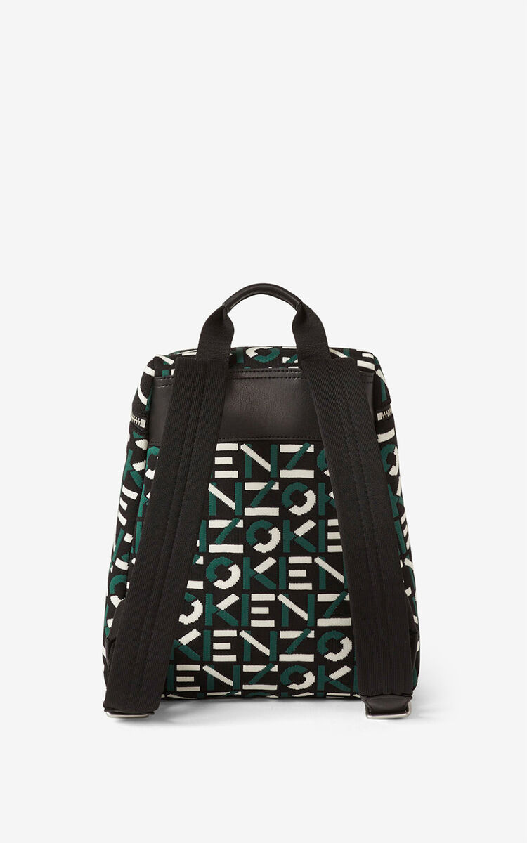 GREEN Monogrammed jacquard backpack for men KENZO