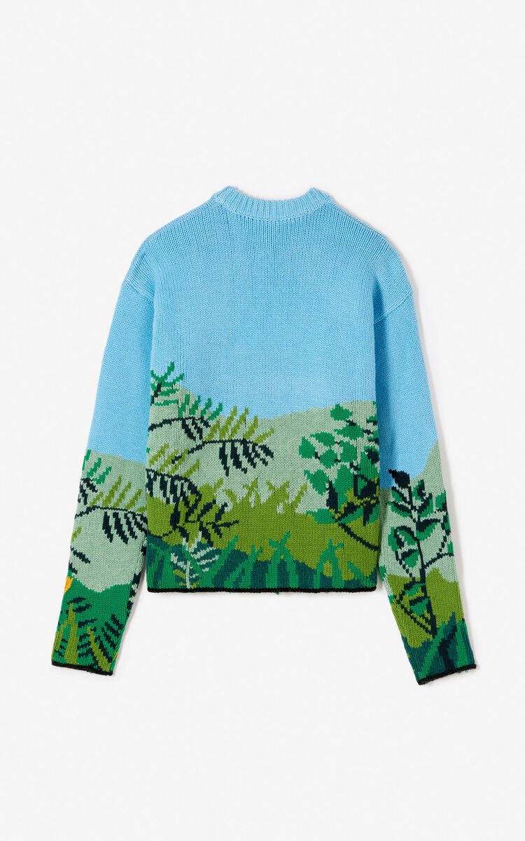 SKY BLUE Hand embroidered jumper for women KENZO