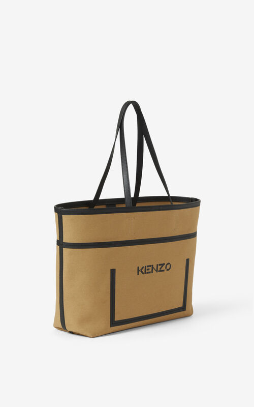 BEIGE Kanvas tote bag for unisex KENZO