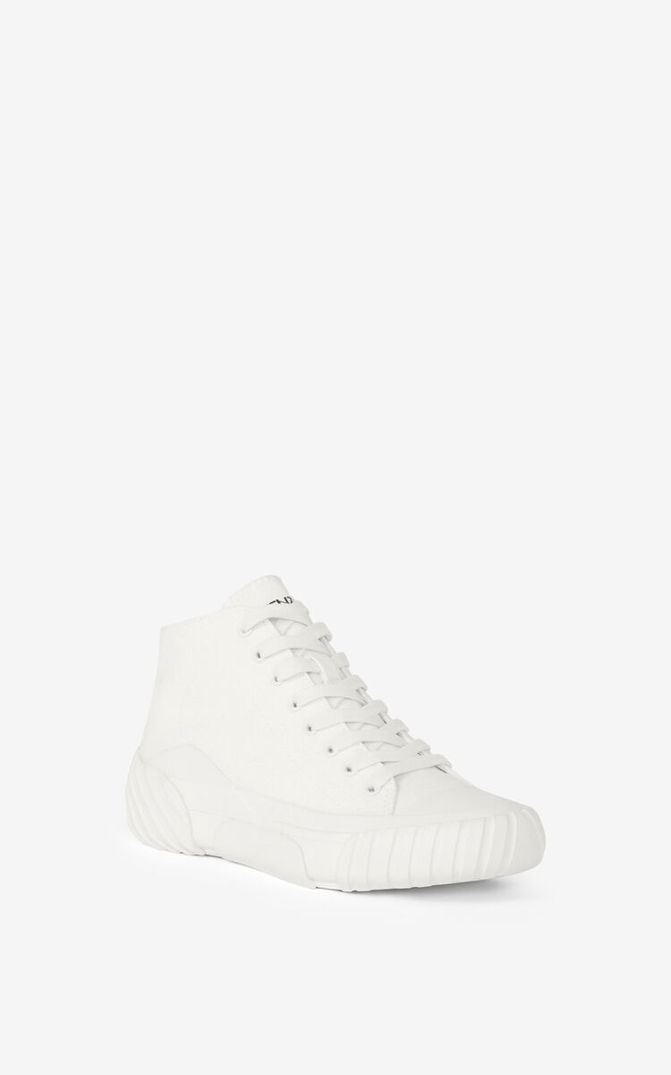 WHITE Canvas Tiger Crest high-top trainers for unisex KENZO