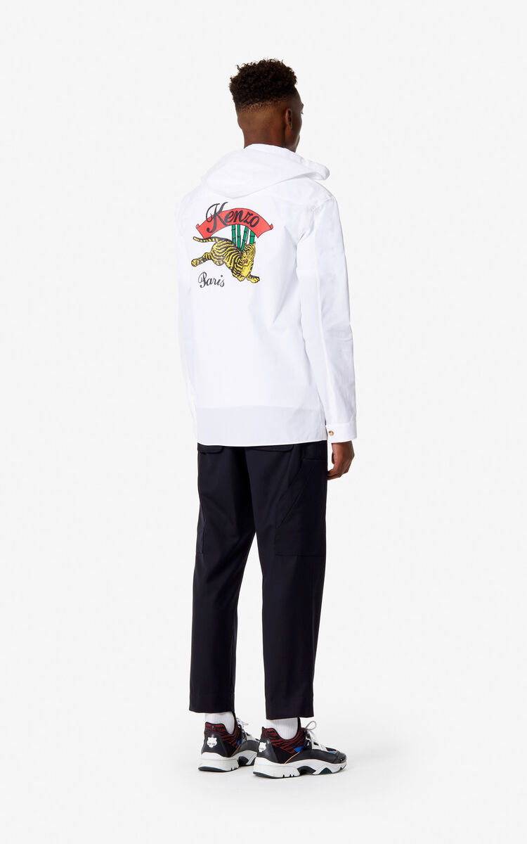 WHITE Hooded 'Jumping Tiger' Overshirt for men KENZO