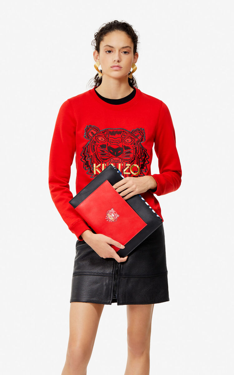 BLACK 'Tiny Tiger' A4 leather clutch 'Exclusive Capsule' for women KENZO