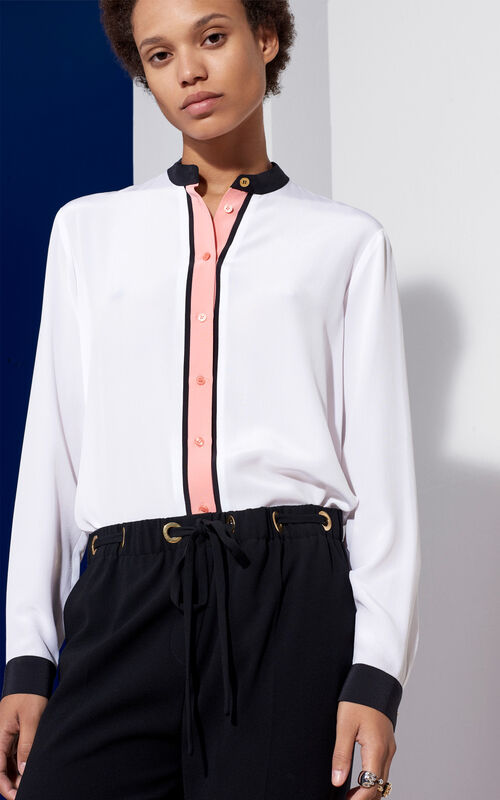 Color-Block Silk Blouse, WHITE, KENZO